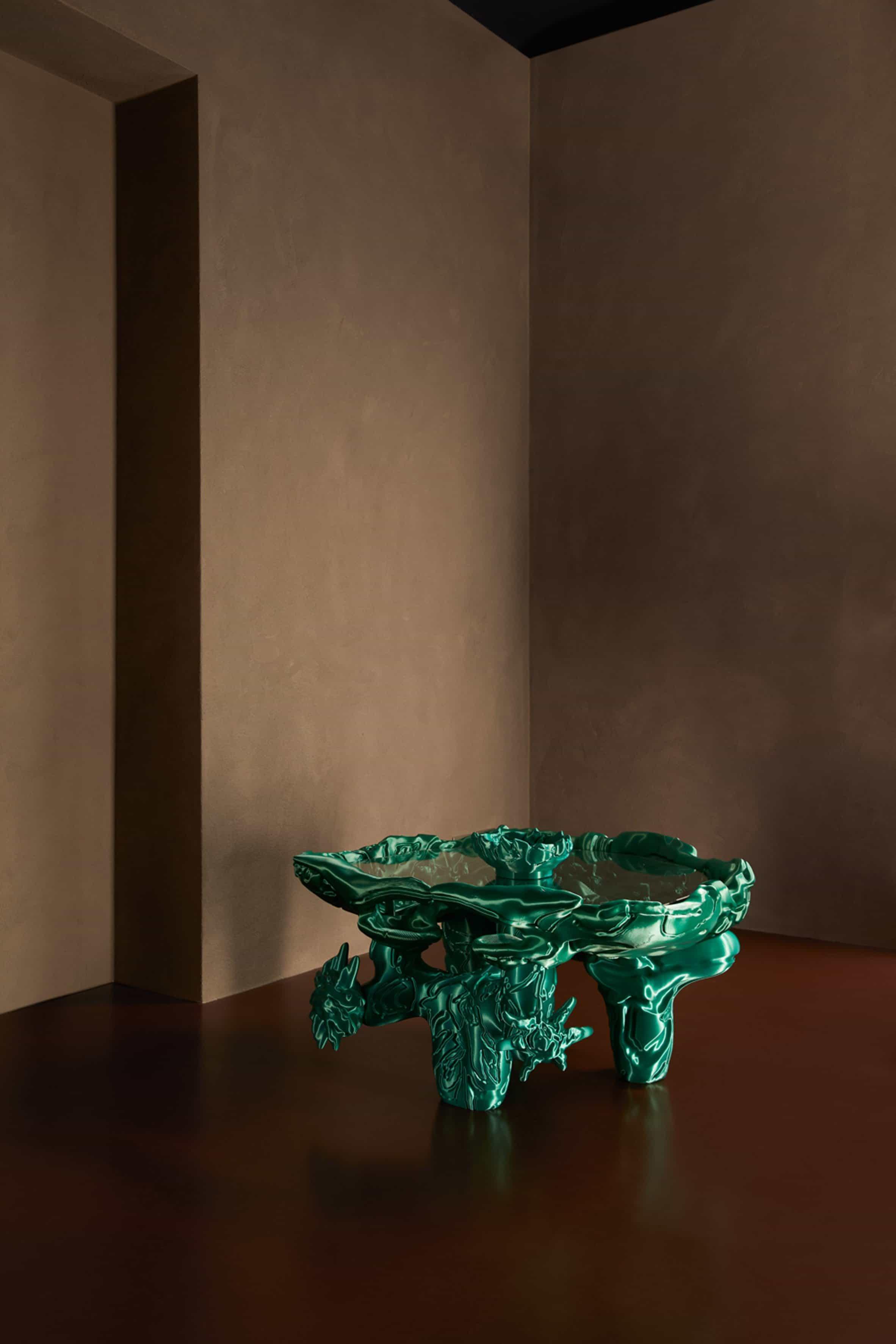 Escultura verde impresa en 3D