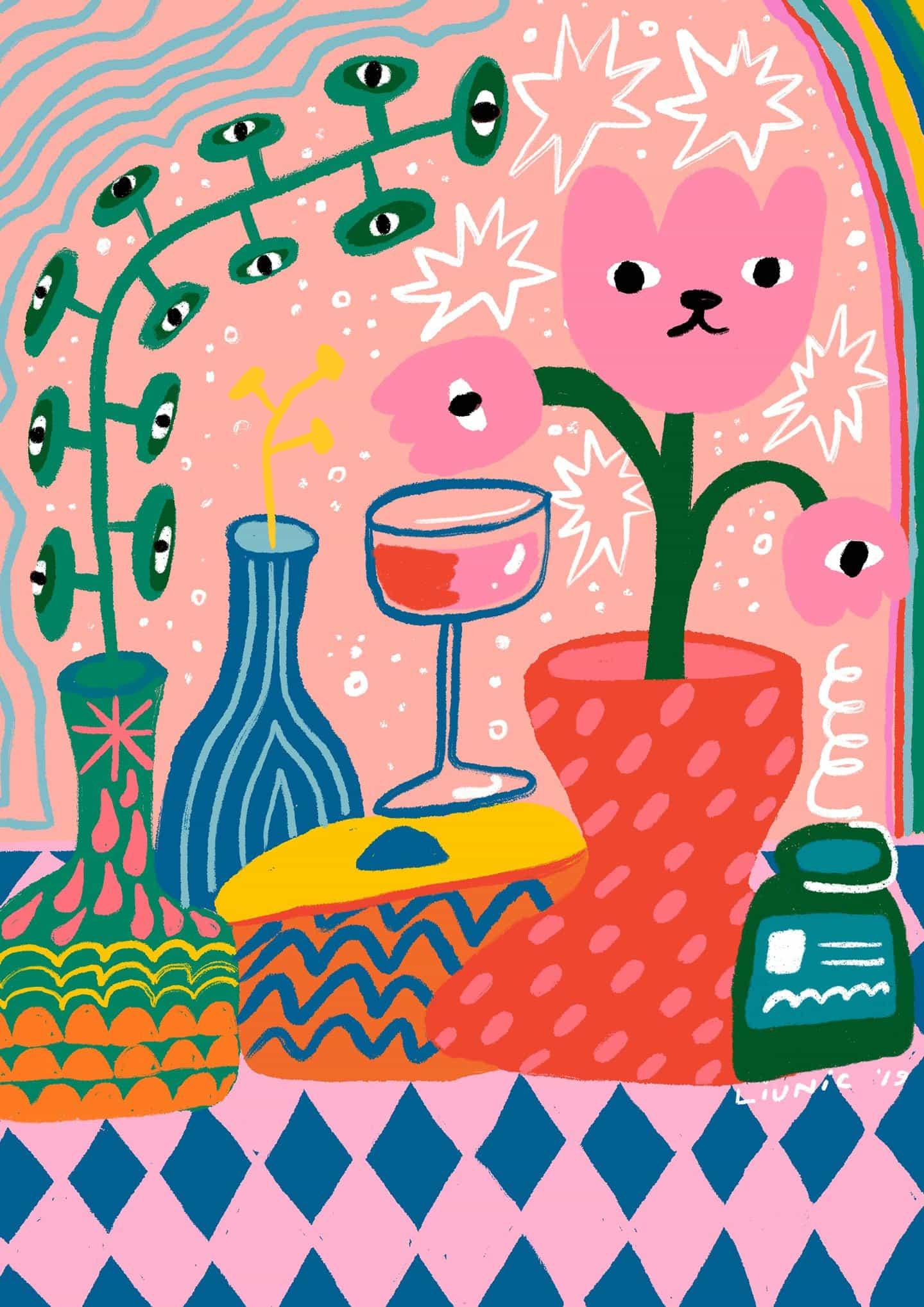 """Con colores vivos y personajes, obras de Martcellia Liunic son """"la combinación correcta de trippy lindo y"""""""