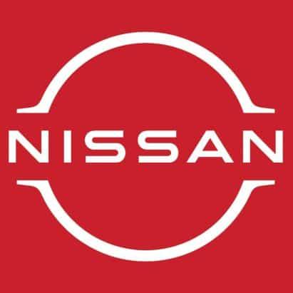 Nissan última marca de coches de despliegue logotipo plana