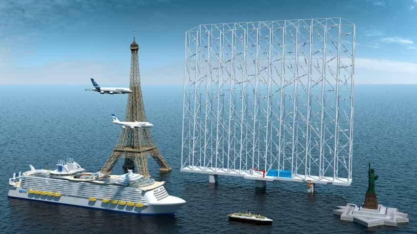 Generador de energía eólica Windcatcher en comparación con el tamaño de la Torre Eiffel