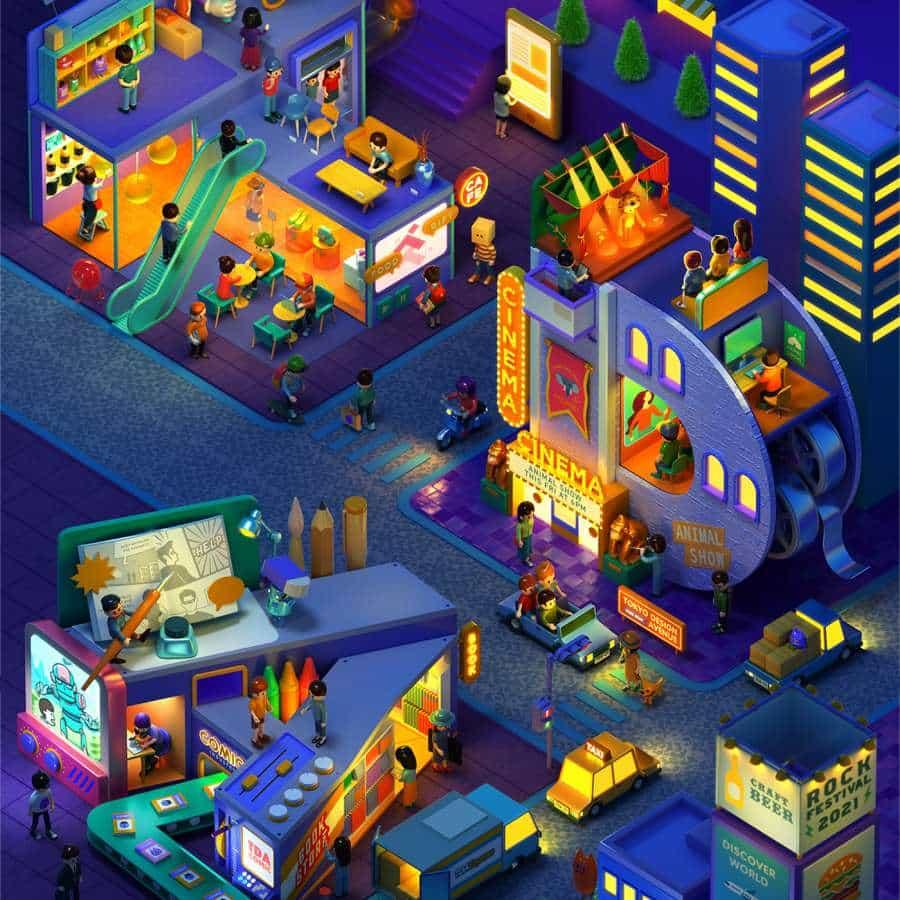 Ilustraciones de colores 3D para Tokio Diseño Academy