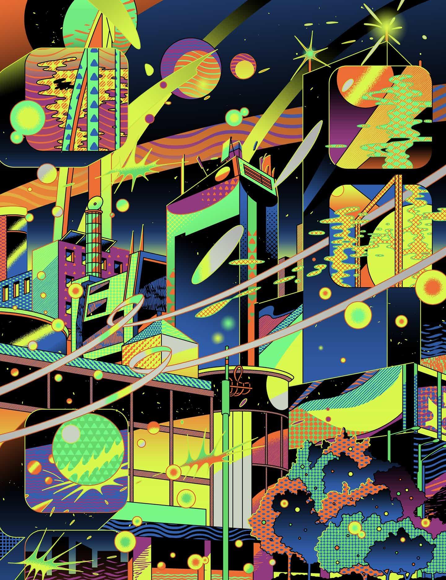 Jinhwa Jang dibuja figuras abstractas, paisajes de neón y futuros distópicos