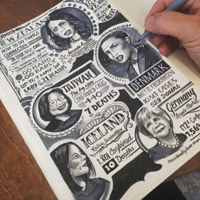 Ilustrador Vic Lee publica dibujado a mano Corona diario documentando su experiencia bloqueo