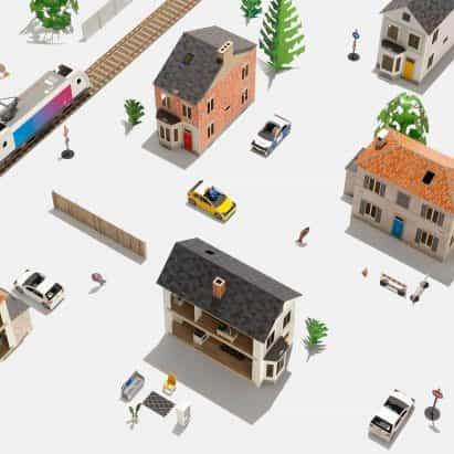 Anteras Kiley diseños de juguetes de papel de bricolaje para la construcción de ciudades en miniatura