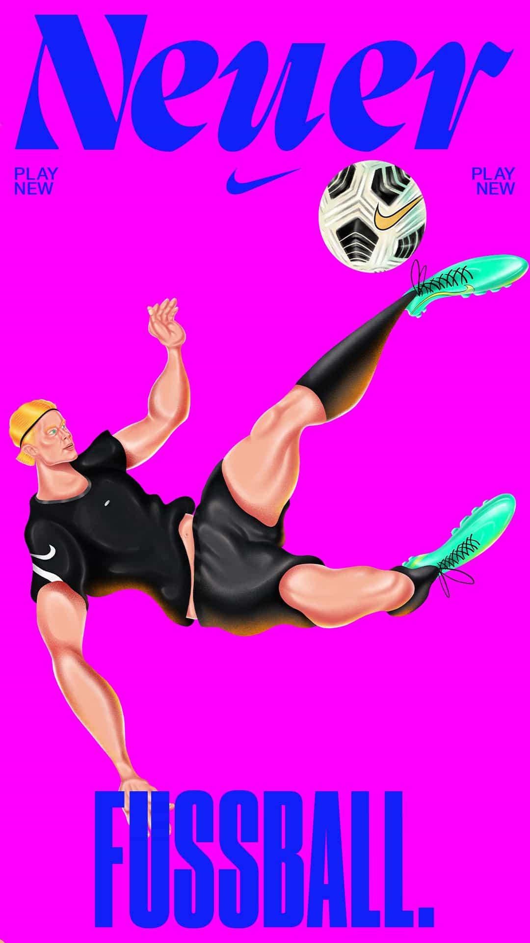 Haein Kim y Tayfun Pekdemir ilustran carteles para La tierra del nuevo fútbol de Nike
