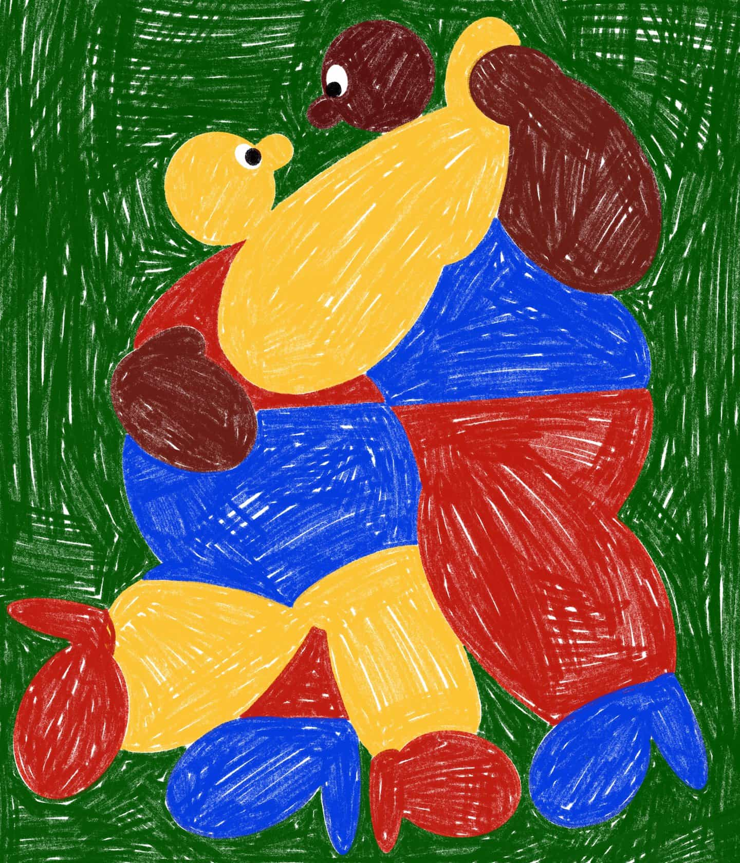 En cada pieza de trabajo, ilustrador intentos Des Skordilis para recrear las clases de arte de la escuela primaria