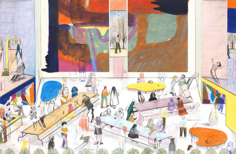 Yann Kebbi ilustra un museo de ficción animada llena de una nueva exposición en cada página