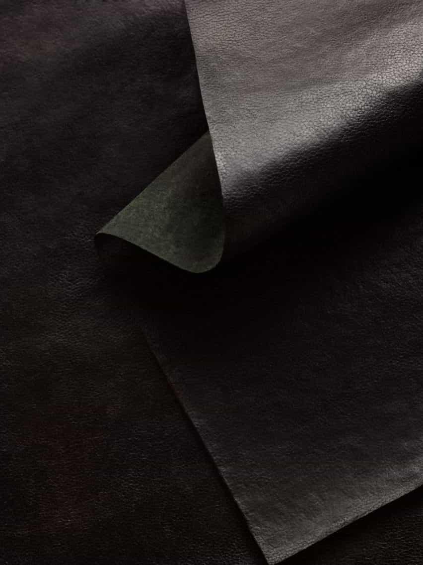Cuero de micelio Reishi en negro