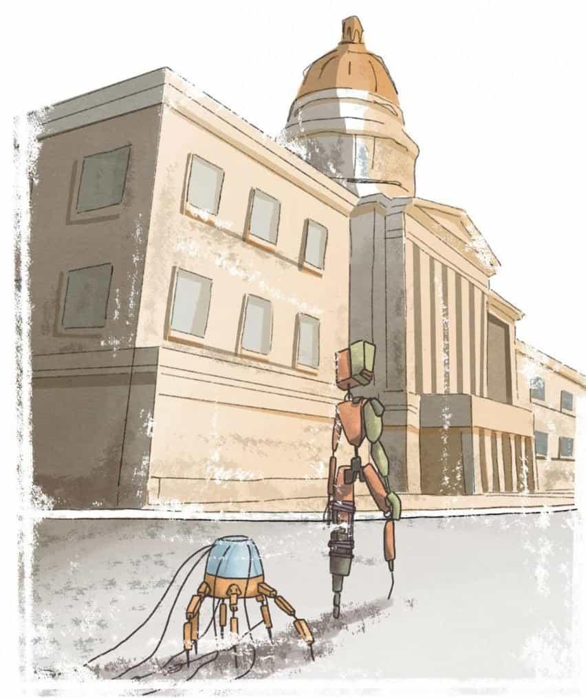 Dos robots caminando por una calle