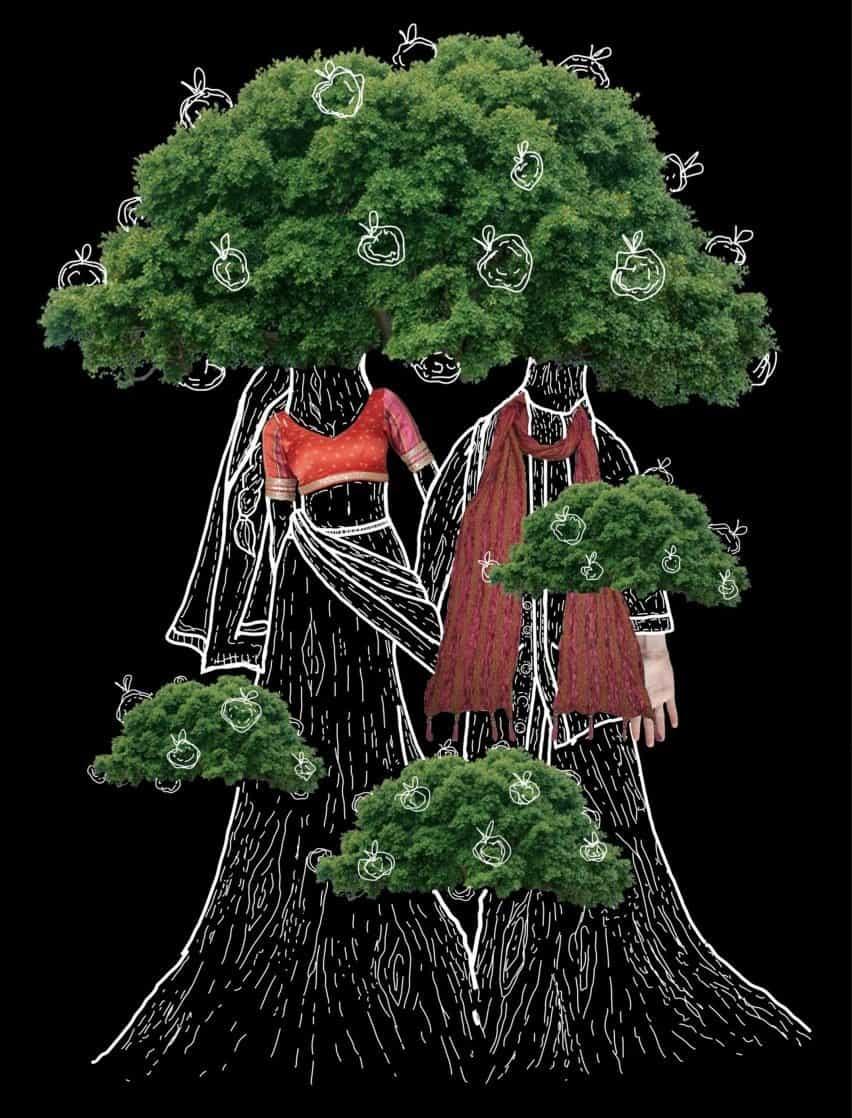 Una ilustración que muestra a dos personas con cuerpos y cabezas que se asemejan a los árboles