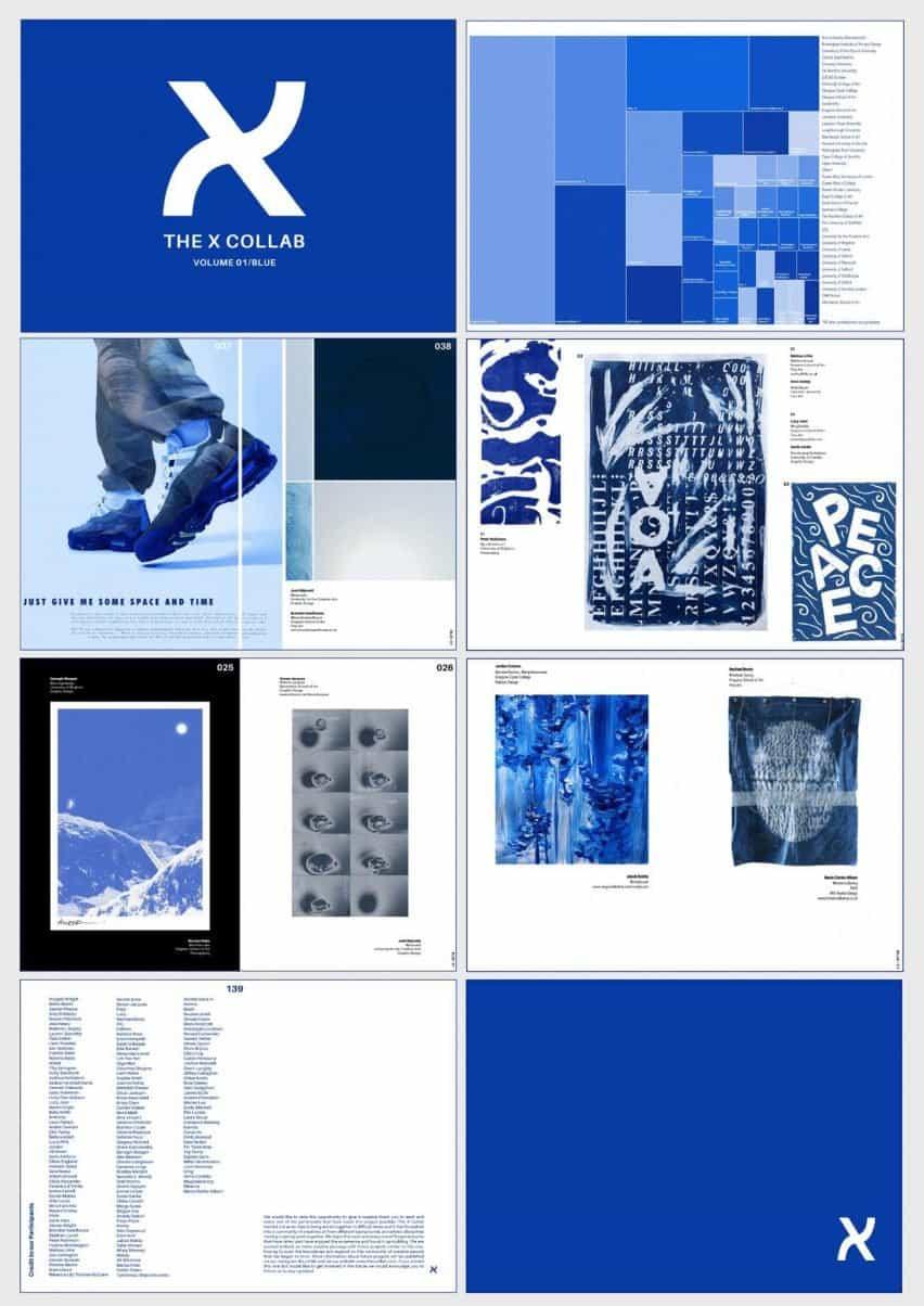 Un diseño colaborativo similar a una revista de los estudiantes que trabajan en colores azules