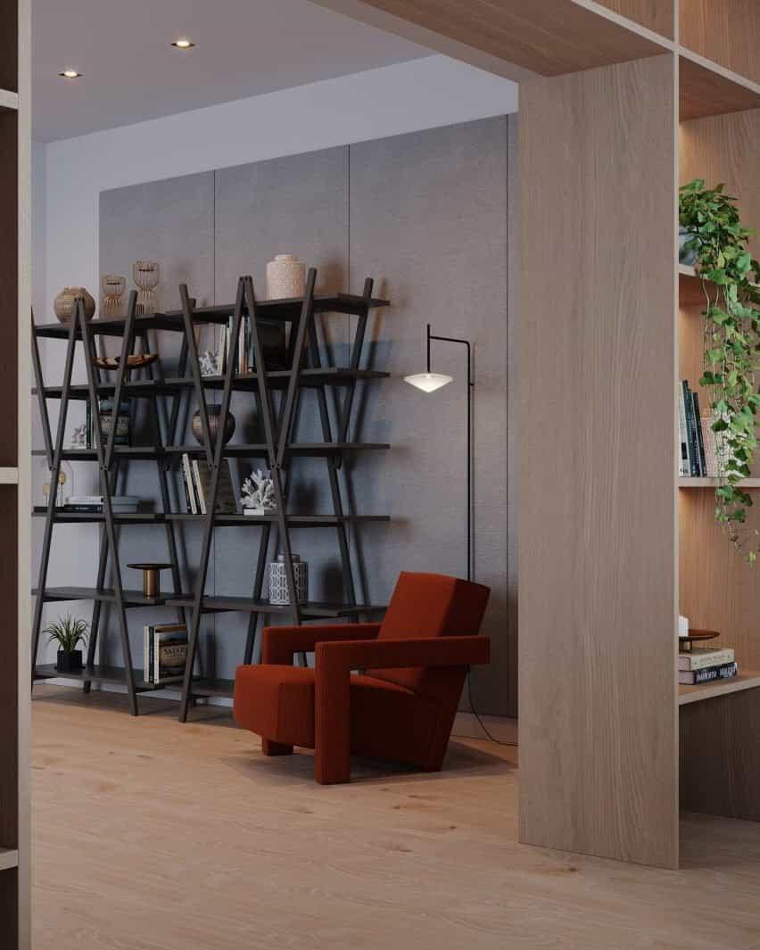 Una fotografía de una estantería gris y una silla roja.