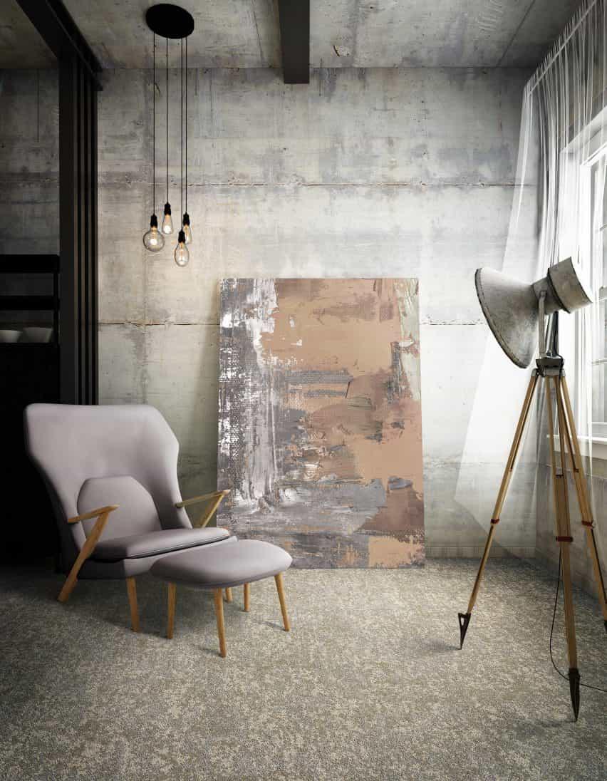 colección de losetas de moqueta Tessera Earthscape de Forbo ofrece un efecto moteado inspirado en la naturaleza