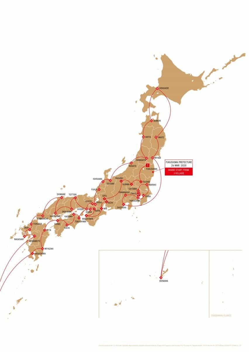 Mapa de la ruta de la llama olímpica en Japón