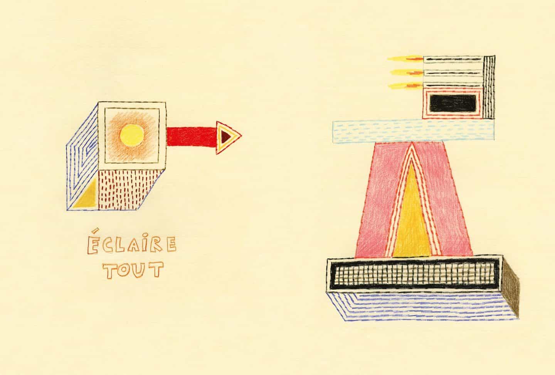 ilustraciones a lápiz de color de Nathalie Du Pasquier a que la luz Observador representan la luminiscencia eléctrica