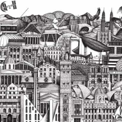 Ilustrador Anna Gibb dibuja Aislamiento Escapes arquitectura de montaje