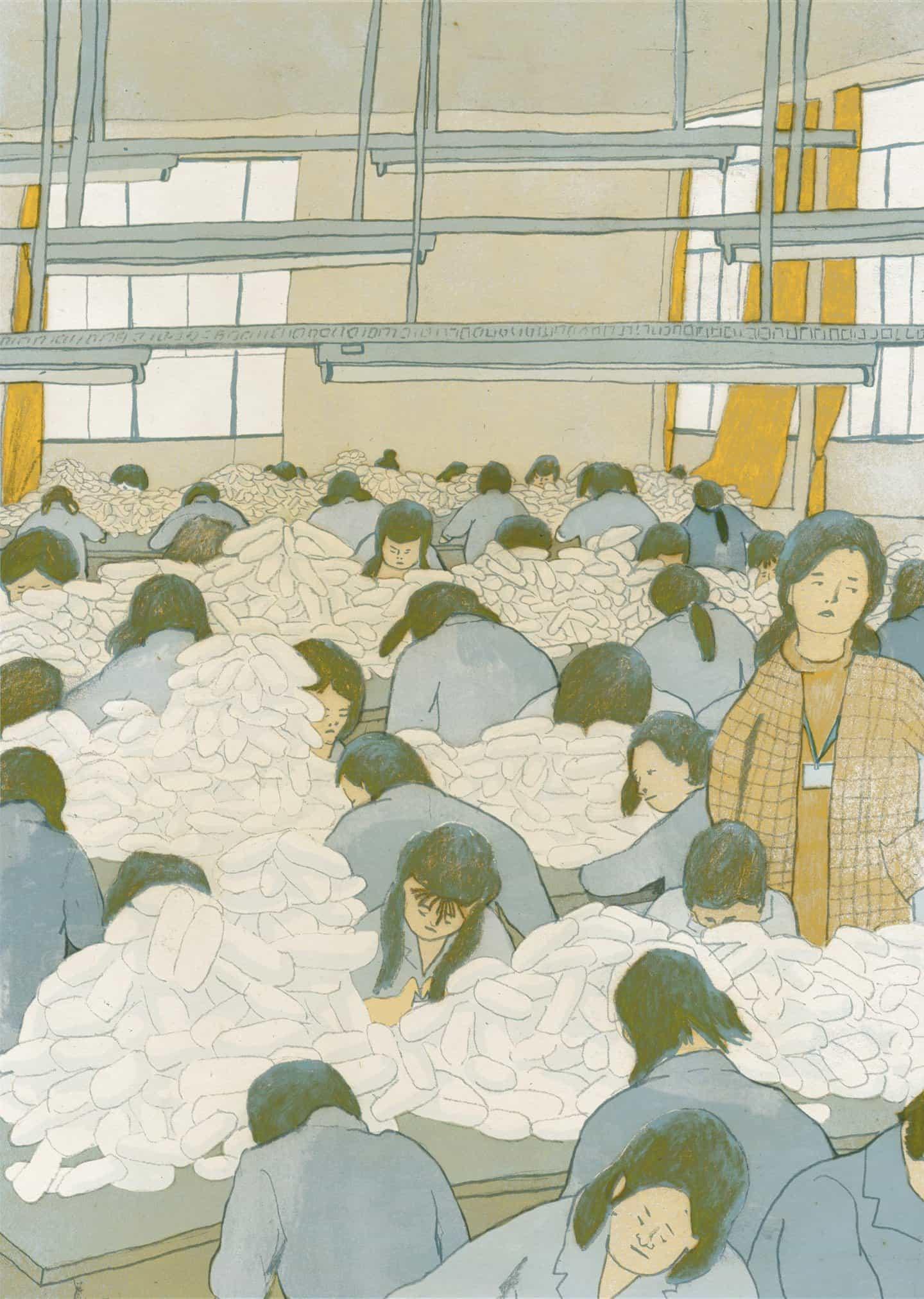 El ilustrador Chenyue Yuan profundiza en las historias sociales para contar la historia de los trabajadores chinos que viven y trabajan en fábricas