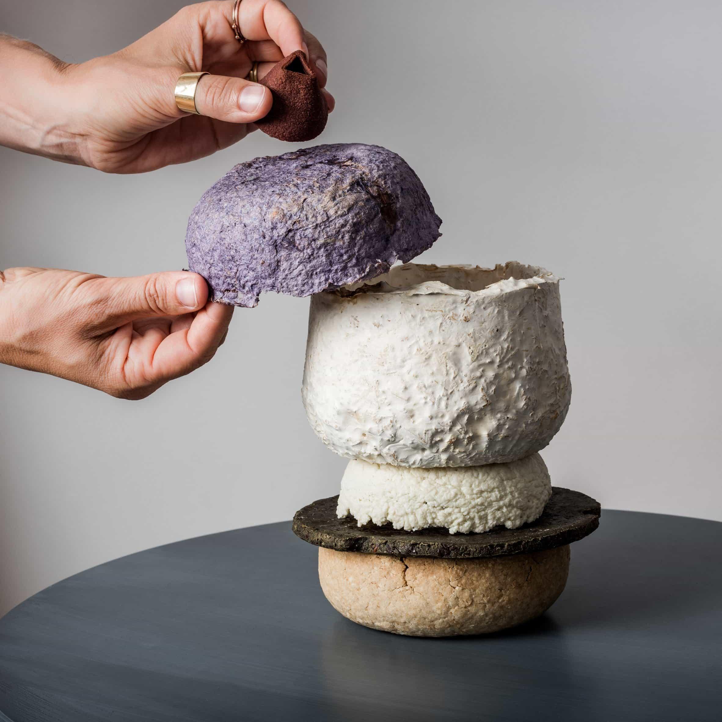 Studio Barbara Gollackner exhibe vajilla hecha de desperdicio de alimentos en la Semana del Diseño de Viena
