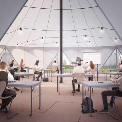 Esta semana, los arquitectos y diseñadores se veía a un futuro socialmente distanciado