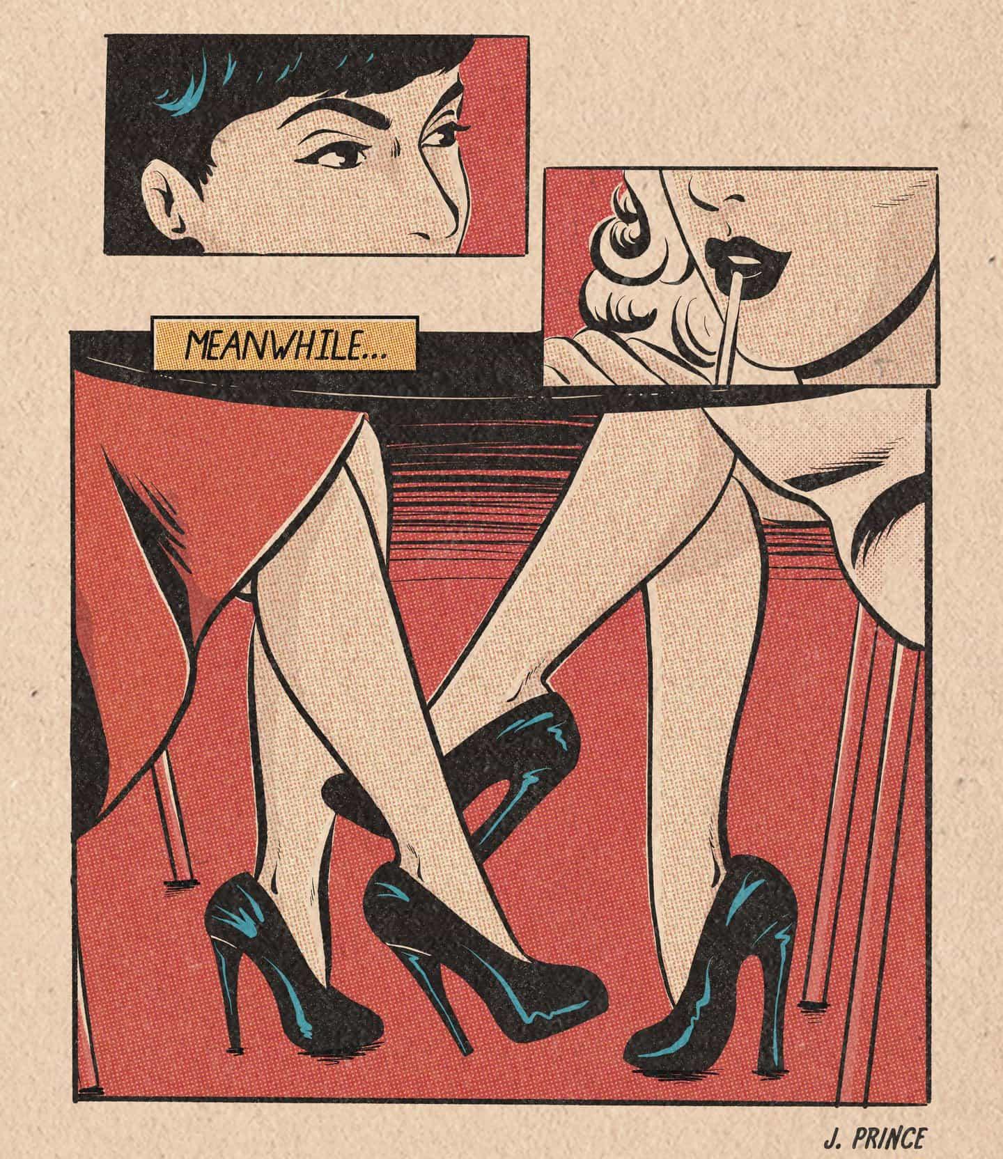 En sus ilustraciones, Jenifer Prince recrea cómics pulp vintage como historias de amor zafiro