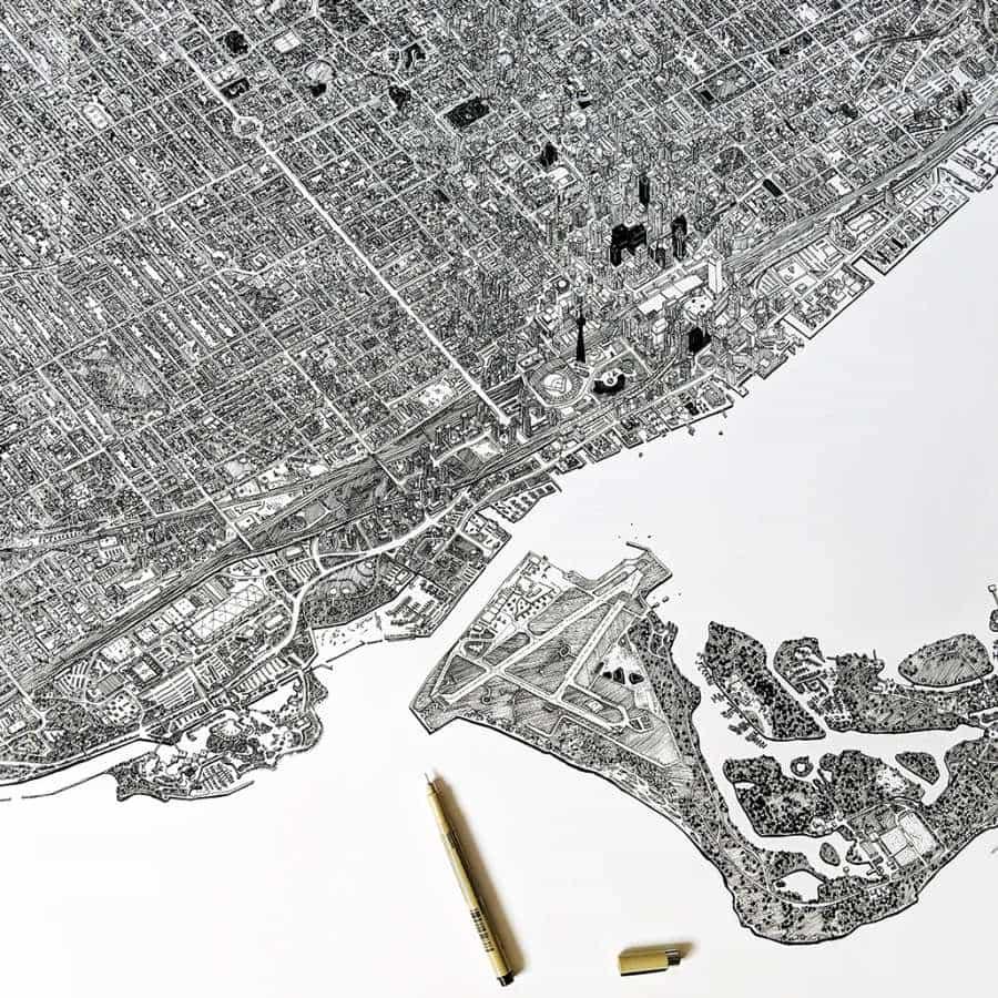 Pensando en Canadá a veces, especialmente recordando lo grande que era el país y su gente obviamente. Cuando me topé con esta ilustración dibujada a mano de la hermosa ciudad de Toronto por Kathleen Fu, no pude evitar recordar mi país de origen. Kathleen es una ilustradora, diseñadora arquitectónica / urbana con sede en Toronto. Me encanta este dibujo y está súper detallado hasta la médula. Su talentosa pieza realmente muestra la densidad del paisaje urbano y no podía imaginar cuánto tiempo le tomó terminar este dibujo.