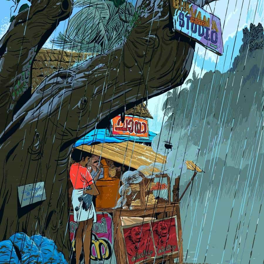Ilustraciones de lluvia y vida por Vipin Das