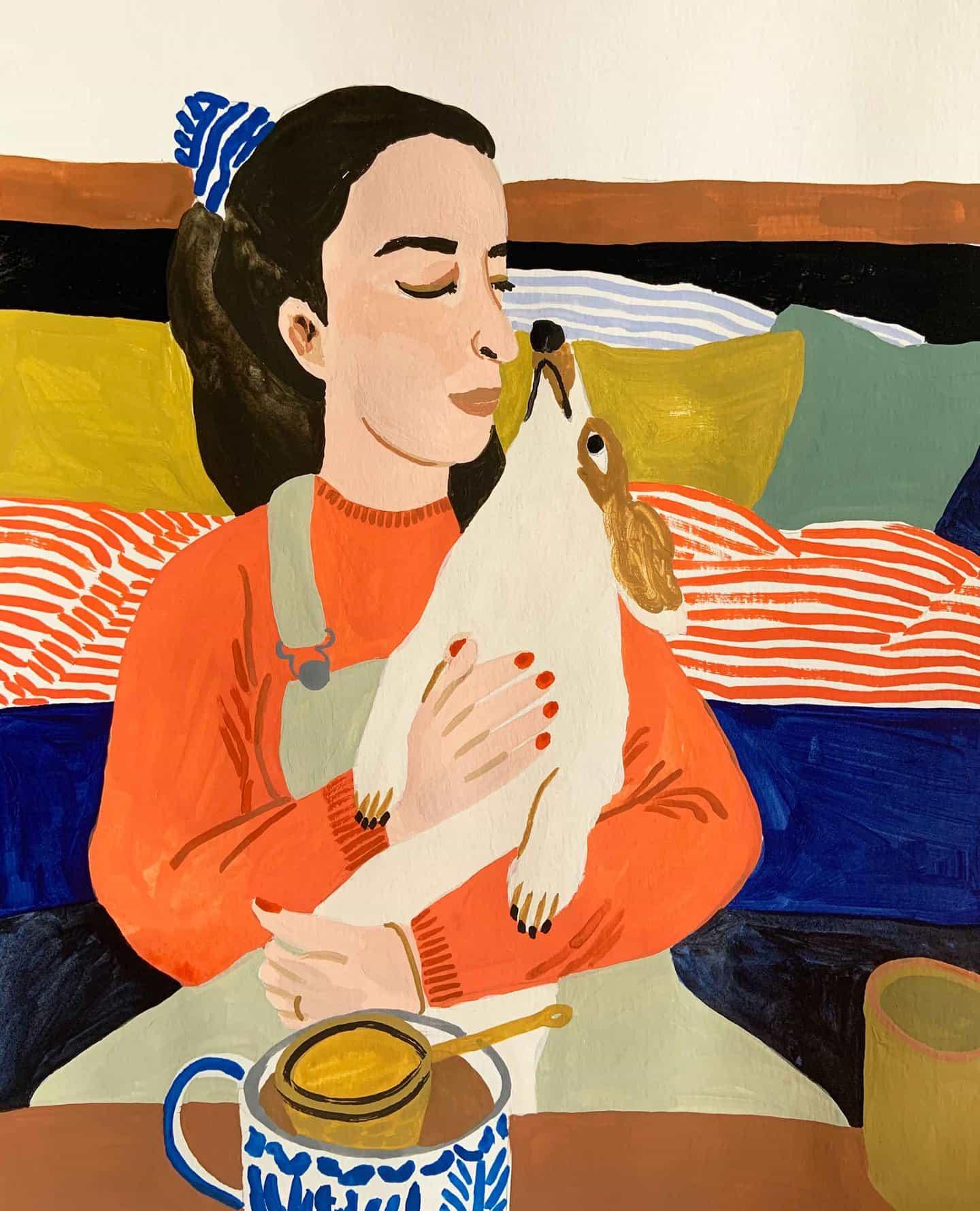 pinturas alegres de Léa Maupetit cuentan con el color, la armonía y perros salchicha