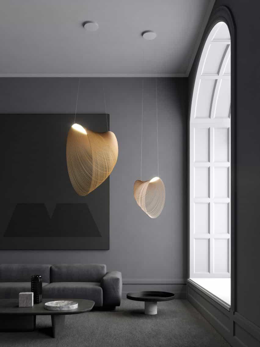 Par de luces colgantes de Illan diseñadas por Zsuzsanna Horvath