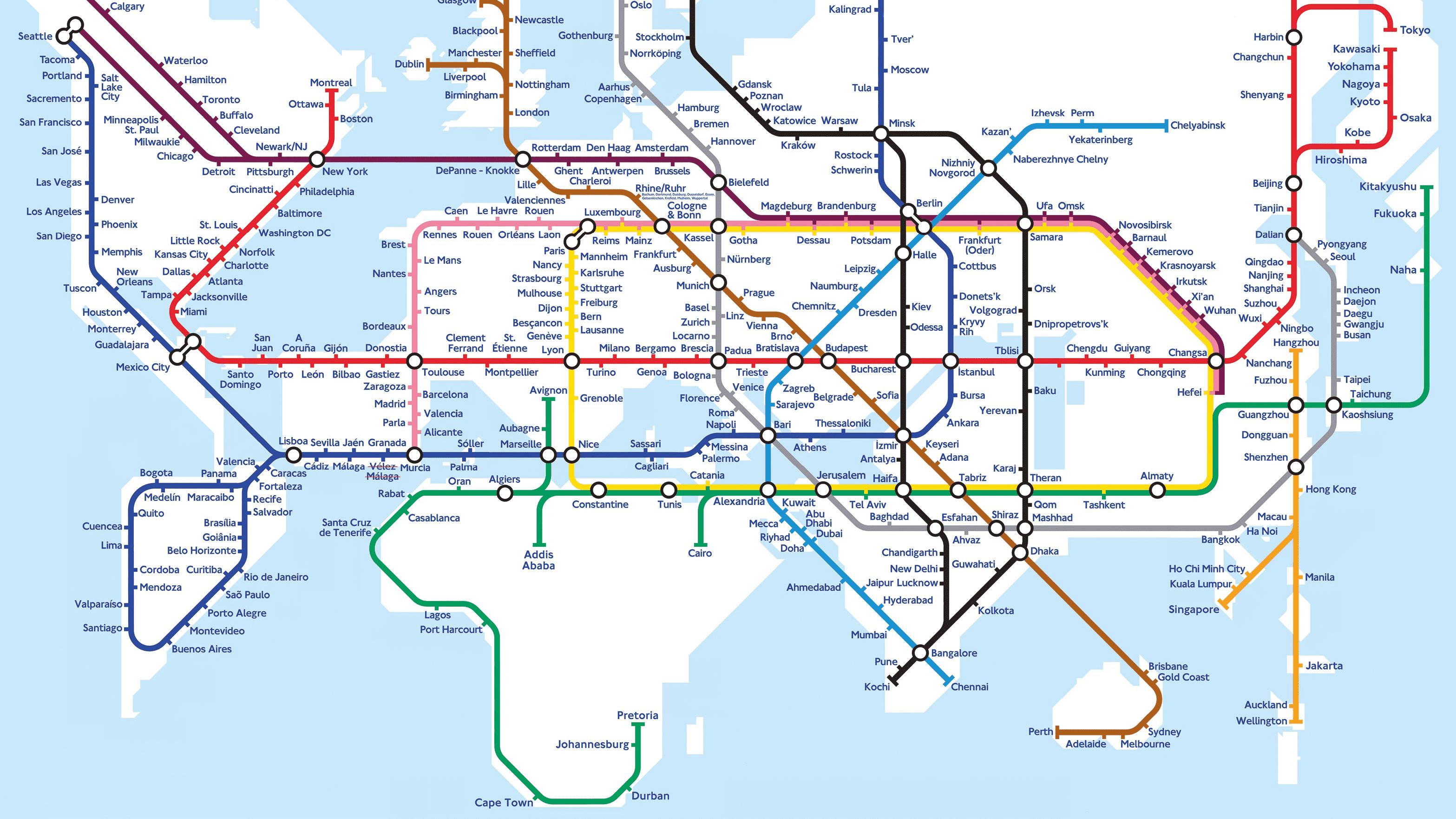 mapa del mundo tren molesta casi todo el mundo