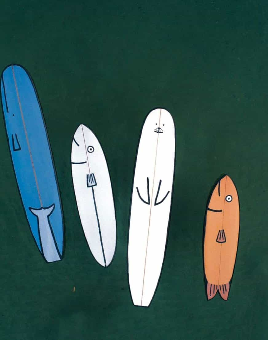 Algo huele a pescado ... tal vez sean las tablas de surf de inspiración marina de Jean Jullien
