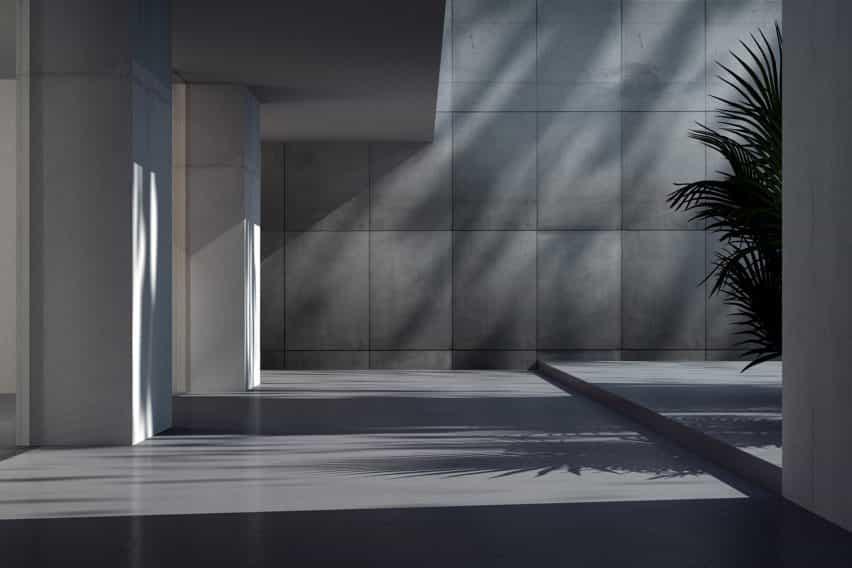 Revestimiento Optik de hormigón por ideal work en un vestíbulo