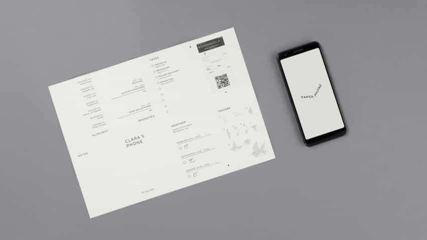 Proyectos especiales destila funciones esenciales de teléfonos inteligentes en papel A4