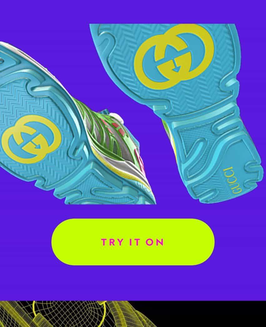 Entrenador solo digital con suela azul y logotipo de Gucci