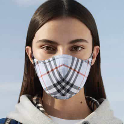 """Burberry mascarilla en tela de verificación de firma cuenta con protección """"antimicrobiano"""""""