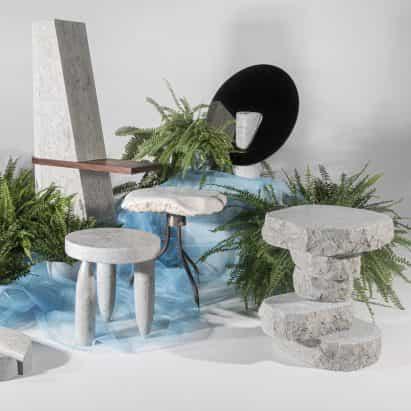 Estonia Academia de Artes estudiantes crear muebles de piedra caliza en bruto