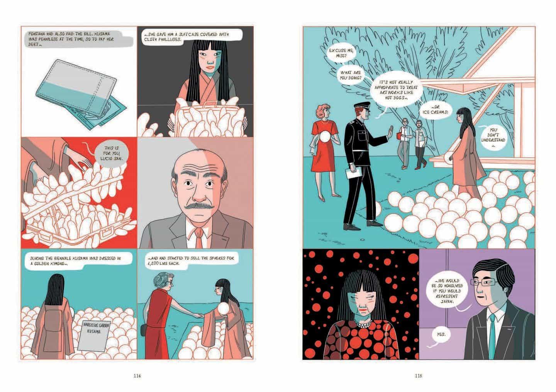 la vida y la carrera de Yayoi Kusama crónica en formato de novela gráfica por primera vez