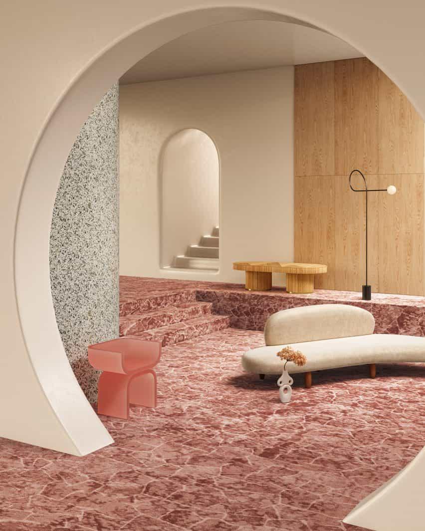 Alfombra Tsar de color óxido en una habitación contemporánea minimalista