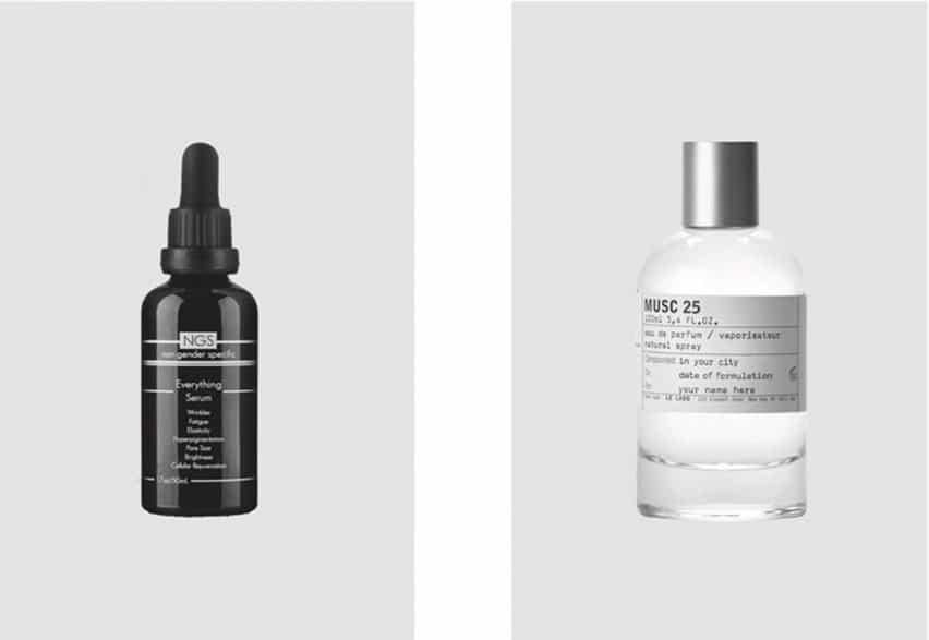 Productos de belleza masculinos y femeninos ilustrados en XX, XY