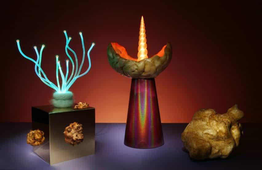 Aia JUDES fusiona excrecencias de árboles con fibra óptica para lámparas extravagantes