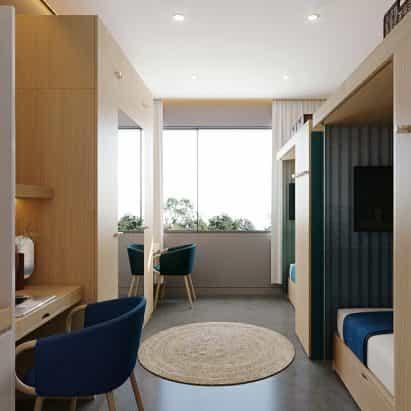 Priestmangoode para diseñar los interiores de grandes espacios co-indio que vive