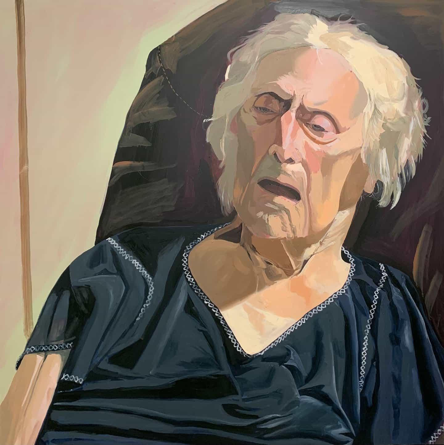 Linus Borgo: Nonna, la última vez que la vi, dos semanas antes de su muerte (Copyright © Linus Borgo, 2021)Óleo sobre lienzo