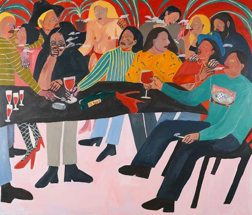 Kimberly Elliott: ¿Quién derramó el vino?, 185cm x 158cm. Acrílico x madera (Copyright © Kimberly Elliott, 2021)
