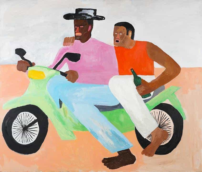 Kimberly Elliott: Dos hombres conduciendo por San Nicolás Oeste, 185cm x 158cm. Acrílico x madera (Copyright © Kimberly Elliott, 2021)