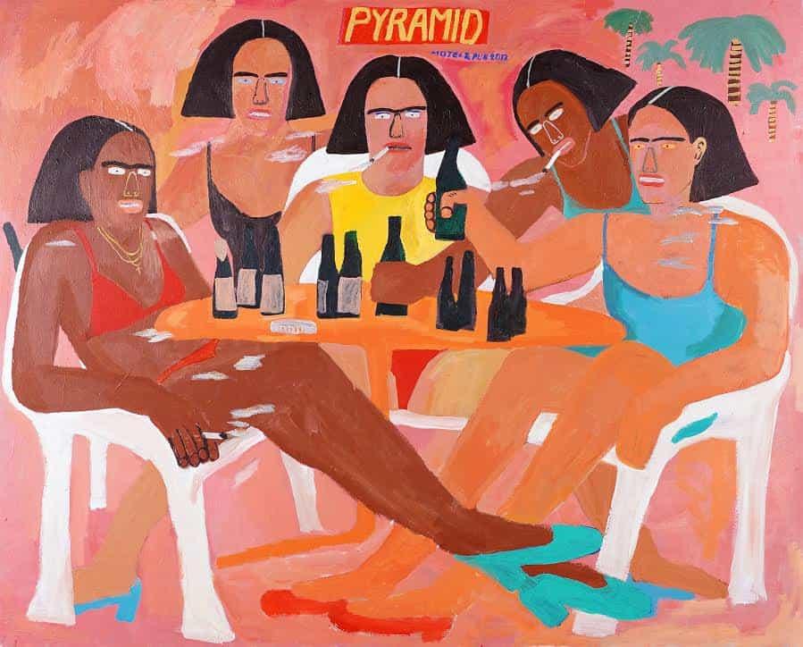 Kimberly Elliott: Las mujeres en la mesa 5, 162cm x 130cm. Acrílico x Lienzo (Copyright © Kimberly Elliott, 2021)