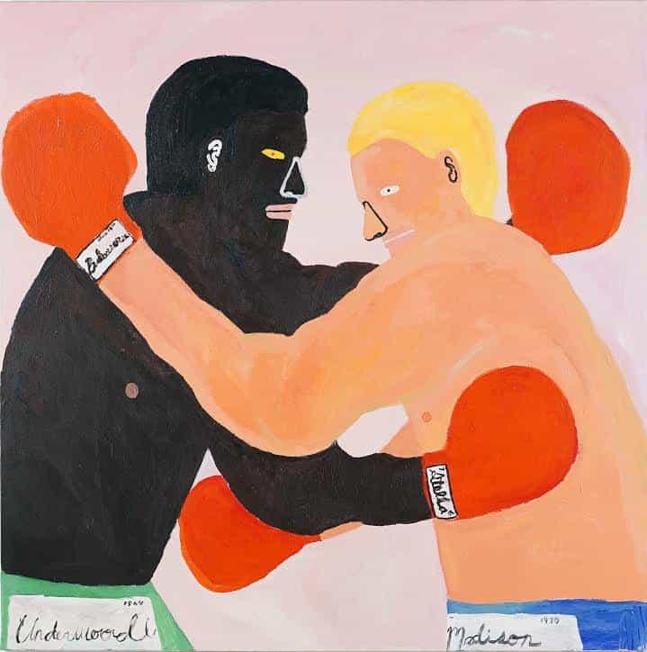 Kimberly Elliott: La pelea, 100cm x 100 cm. Acrílico x Lienzo (Copyright © Kimberly Elliott, 2021)