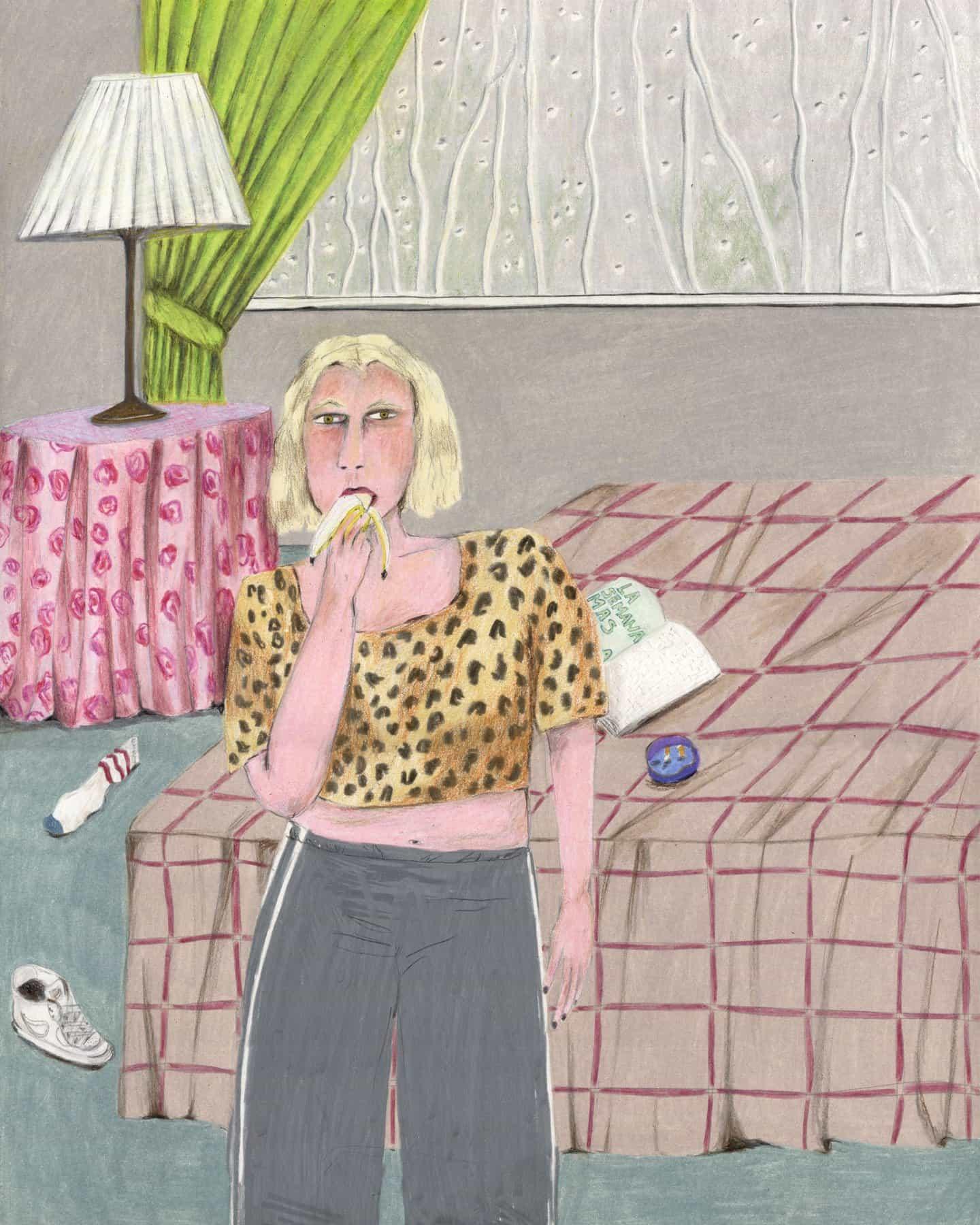 """Los dibujos de Adriana Lozano de """"personajes solitarios"""" son como rompecabezas sin soluciones."""