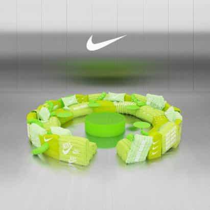 Estudios Crosby diseña sofá tapizado con Virtual verdes chaquetas Nike