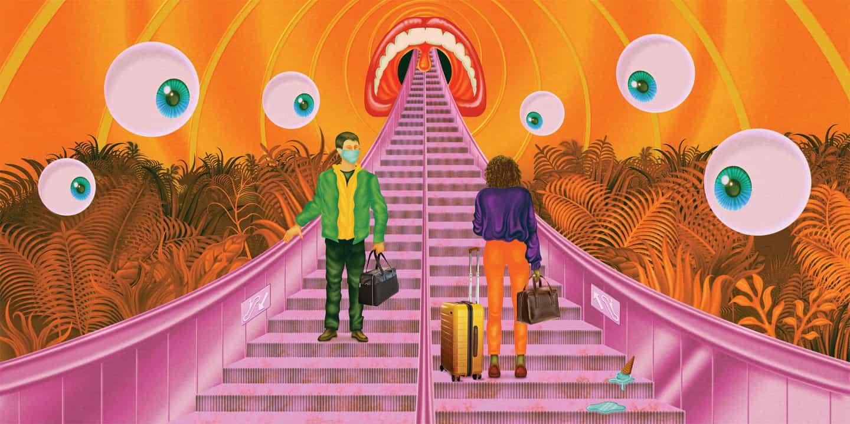 """La campaña de Robert Beatty para Away representa la """"experiencia similar a la ciencia ficción de viaje en medio de una pandemia"""""""
