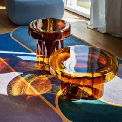 Yiannis Ghikas crea-vidrio soplado mesa de café de soda para Miniforms