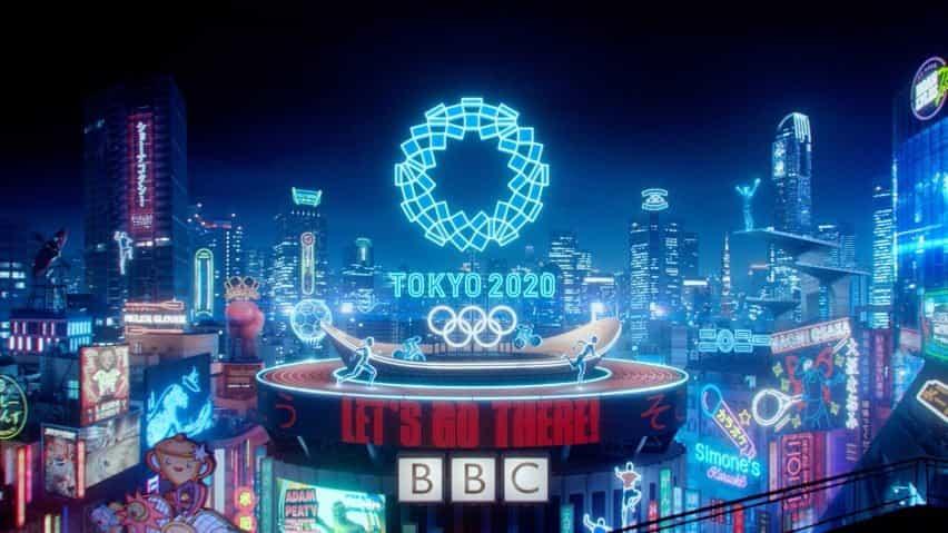 Azotea y luces en la escena final del tráiler de la BBC de los Juegos Olímpicos de Tokio 2020 producido por Factory Fifteen y Nexus Studios